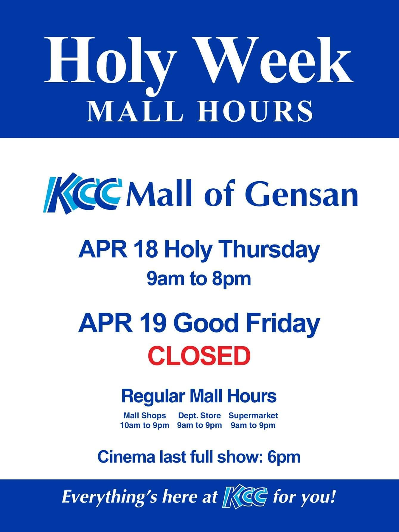 KCC Mall of Gensan's Holy Week 2019 Schedule