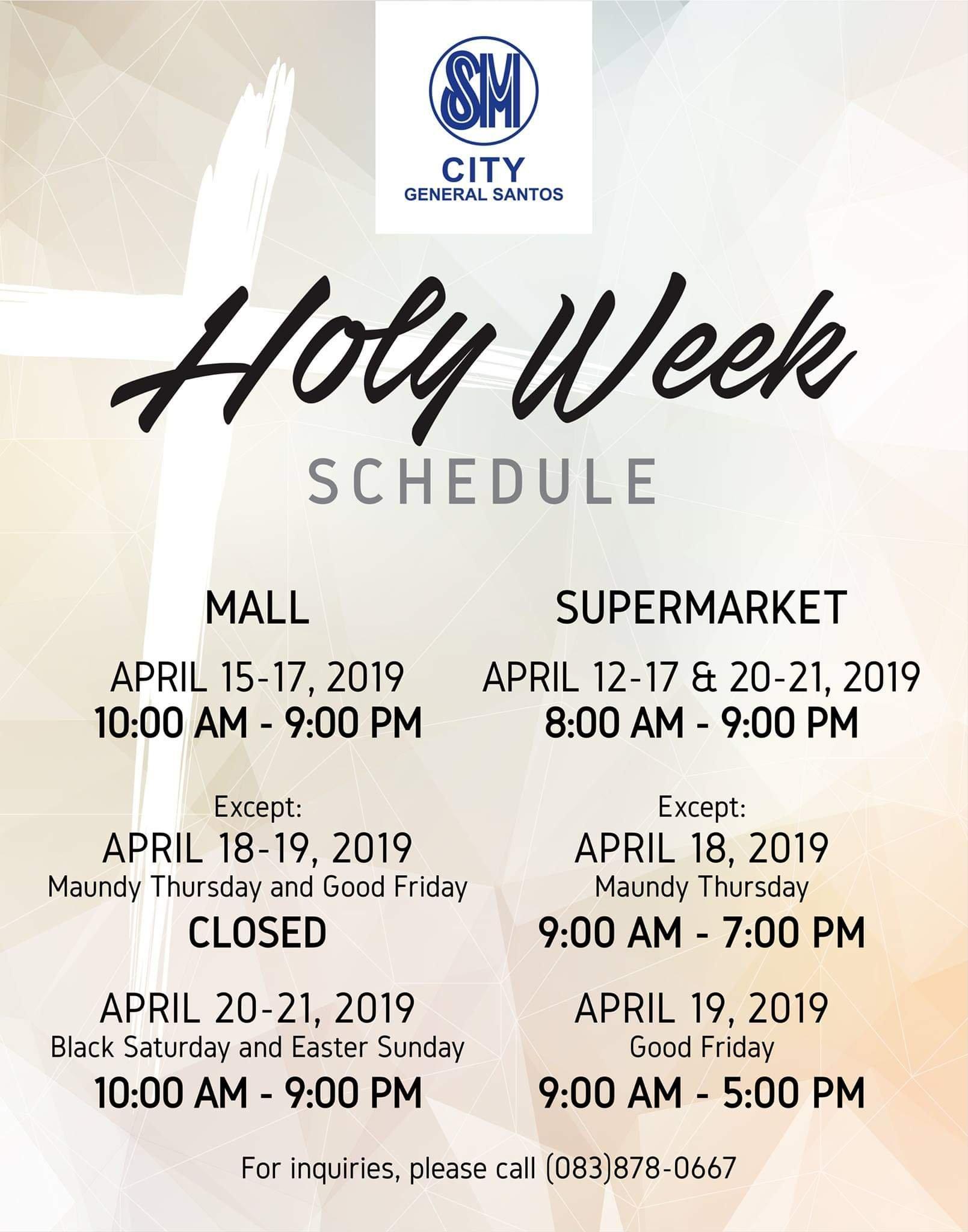 SM City Gensan Holy Week 2019 Schedule